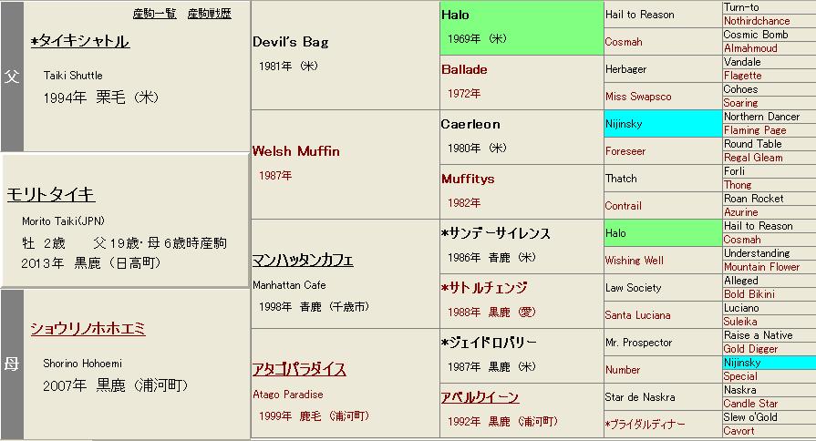 モリトタイキ血統